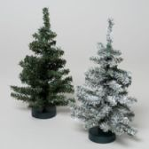 96 Units of Christmas Tree 12in Canada Pine 60tips 2ast Green & Snow Tipped Plastic Base - Christmas Novelties