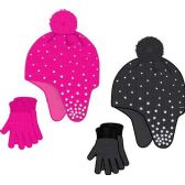 24 Units of Ladies Cute Winter Hat And Gloves - Winter Sets Scarves , Hats & Gloves