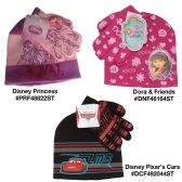 24 Units of Assorted Dora And Friends Disney Pixar's Cars and Disney Princess Hat And  Gloves Sets - Winter Sets Scarves , Hats & Gloves