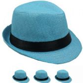24 Units of Children Turquoise Fedora Hat With Black Band - Fedoras, Driver Caps & Visor