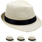 24 Units of Children Beige Fedora Hat with Black Band - Fedoras, Driver Caps & Visor