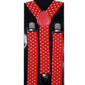 48 Units of Adult Red Suspender with White Dots - Suspenders