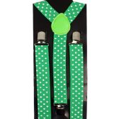 96 Units of SUSPENDER GREEN WITH WHITE DOTS