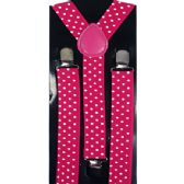 48 Units of Pink Suspender with White Dots - Suspenders