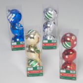 96 Units of Ornament 3pk Vintage Style Set Painted & Glitter - Christmas Ornament