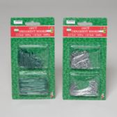 144 Units of Ornament Hooks 150ct Green Or Silver 12pc - Christmas Ornament