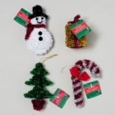 144 Units of Ornament Tinsel 4asst Tree/cane/gift/snowman Gov Xmas Hangtag - Christmas Gift Bags and Boxes