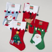 96 Units of Stocking 18in 4ast Stitched Characters W/pompom Trim Detail - Christmas Stocking