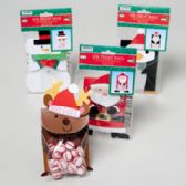 96 Units of Treat Bag 4pks Christmas 4ast Kits Santa/snowman/penguin/rein - Christmas Gift Bags and Boxes