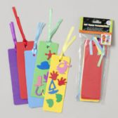 48 Units of Bookmarks Foam 10pk Diy Craft 2x6 Asst Color W/satin Ribbon Gov Craft Pbh - Craft Kits
