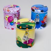 96 Units of Bank Kids Round Metal With Lock And Key 4 Designs In Pdq 2-7/8d X 3-3/4h