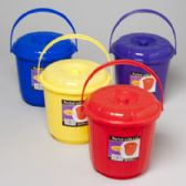 96 Units of Bucket With Lid & Handle 3 Qt 7.25d X 7.5h 4 Colors In Pdq