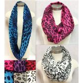 24 Units of Leopard Print Infinity Circle Scarves - Womens Fashion Scarves