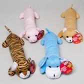20 Units of Dog Toy Plush 14in Long With Squeaker 4 Asst Animals In Pdq Hang Tag