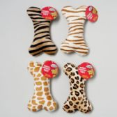44 Units of Dog Toy Plush 8 Inch Bone With Squeaker Animal Prints - Pet Toys