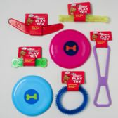 144 Units of Dog Toy Vinyl & Plastic 6 Shapes Asst Colors