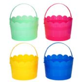 36 Units of Easter Bucket Plastic 4asst Pastels W/handle & Scallop Top - Easter