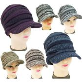 24 Units of Knitted Lady Hats with Bill Winter Hats Assorted - Fashion Winter Hats