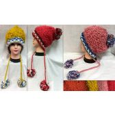 36 Units of Thread Loops Knitted Winter Hats with Pompom Balls Ast - Fashion Winter Hats