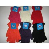 120 Units of Ladies Assorted Color Magic Glove With A Cuff - Knitted Stretch Gloves