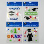 48 Units of Graduation Gel Stickers 4ast Designs Polybag Header - Graduation