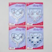 96 Units of Jewelry Set 2ast Styles/3 Gem Colors Necklace/earring/bracelet Blister Card