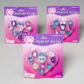 144 Units of Rings Dress-up W/gems 10ct Asst Colors Gov Logo Blister Card