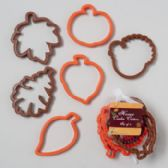 108 Units of Cookie Cutters 6pc Harvest Plstc 3.75x4.25x.43h Orng/brwn Harvest Hangtag In Mesh Bag - Cake Decorating Supplies