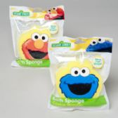 96 Units of Bath Sponge Seasame Street Elmo And Cookie Monster Merchandising Strips - Baby Beauty& Care Items
