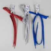144 Units of Shoelace Glitter 45in 3asst Blue/red/silver 12pc Mdsg Strip Gov Header Card