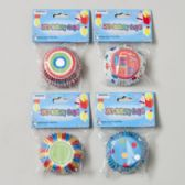 144 Units of Baking Cups 50ct Birthday Prints 4asst Unisex Design 12pc Merch- Strip 2in Dia Cups - Baking Supplies