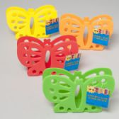 96 Units of Napkin Holder Butterfly Shape 4 Summer Colors Die Cut Gov Summer Hang Tag