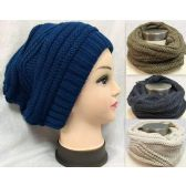24 Units of Dual Purpose Knitted Hat / Infinity Scarf Assortments - Womens Fashion Scarves