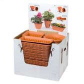 84 Units of Planter Med 3 Shapes In Display Terra Cotta,dark Green In Pdq - Garden Planters and Pots