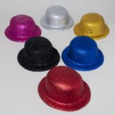 108 Units of Derby Hat W/glitter 6ast Colors Silver/gold/blue/pink/black/red Plastic Upc Label - Costume Accessories