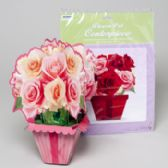 144 Units of Flowerpot Centerpiece 2ast Rose Bouquets 3-d Paper Gov Logo Pb/ins - Party Novelties