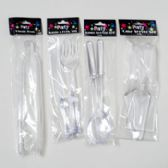 96 Units of Serving Utensils Clear Plst 2pc Cake/salad/knife & Fork-1pc Tong Gov Party Printed Polybag - Plastic Serving Ware