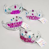 192 Units of Tiara Crown Happy Birthday Or Princess/pink Or Purple 48pc Pdq Gov Party Hangtag - Costume Accessories