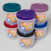 96 Units of Food Storage Container Round W/screw Top Lid 56 Oz 6 Color Lids Clear Bottom - Food Storage Bags & Containers