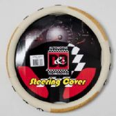 20 Units of STEERING WHEEL COVER BEIGE/WOOD LOOK SOCCER BALLS DESIGN ON PEGGABLE CARDBOARD INSERT