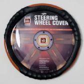20 Units of STEERING WHEEL COVER BLACK/ WOOD LOOK ON PEGGABLE CARDBOARD INSERT