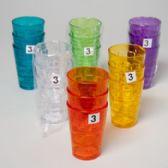 96 Units of Tumblers Glass-look 6 Colors 3pk 8 Oz - Plastic Drinkware