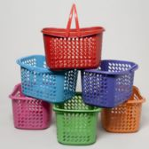 36 Units of Basket With Folding Handles 6 Colors - Baskets