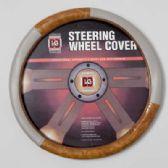 20 Units of STEERING WHEEL COVER TAN WOOD LOOK/GREY ON PEGGABLE CARDBOARD INSERT