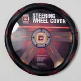 20 Units of STEERING WHEEL COVER BLACK/BURGUNDY ON PEGGABLE  CARDBOARD INSERT