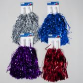 96 Units of Pom-pom 2pk Tinsel 13in 4ast Red/blue/purp/silver - Costume Accessories
