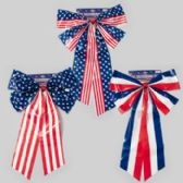 96 Units of Bow Patriotic Printed Weather Proof Plastic 24in 3ast Styles - 4th Of July