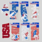 96 Units of Cutout Patriotic Glittered Eva Foam Shapes & Words - 4th Of July