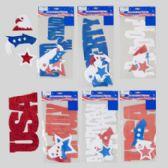 96 Units of Cutout Patriotic Glittered Eva Foam Shapes & Words - Seasonal Items