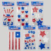 144 Units of Gel Stickers Patriotic 6asst - Seasonal Items